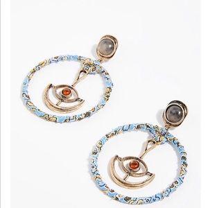 Free People Fabric Wrapped Pendulum Earrings Hoops